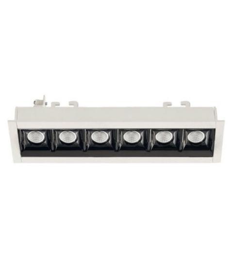 Bento 6 lineær downlight, lengde 17,3 cm, Hvit/Sort innside