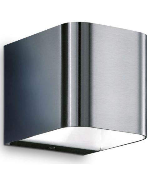 Intro vegglampe i børstet stål, lys opp og ned, dimbar LED 3000K 380lm