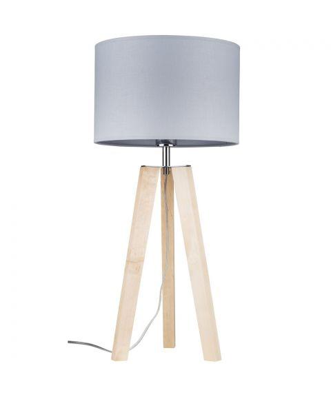 Lotta bordlampe, høyde 65 cm, Bjørk/Grå tekstil (restlager)