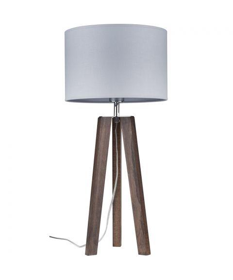 Lotta bordlampe, høyde 65 cm, Valnøttfarget bøk/Grå tekstil (restlager)