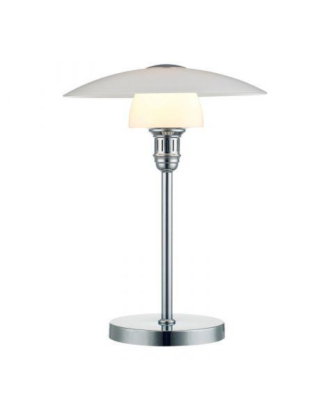 Bohus bordlampe, høyde 48 cm, Krom/Opalhvit