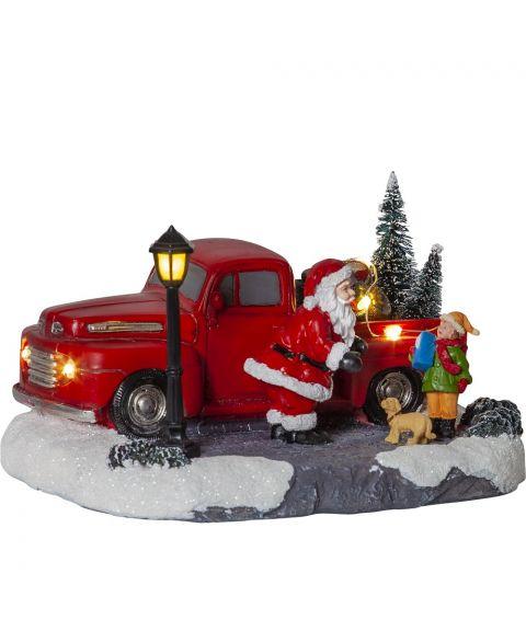 Merryville dekorasjon nisse med lastebil, batteridrevet med timer