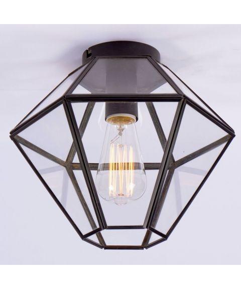 Ask taklampe, diameter 28 cm, Sort / Klart glass