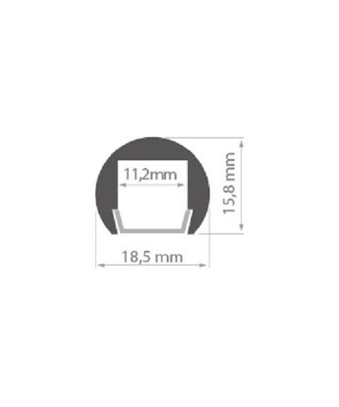 Aluminiumsprofil PDS-O (u/avdekning), anodisert, Metervare