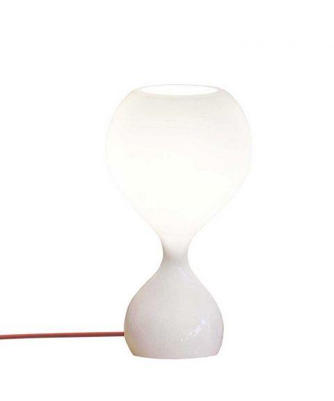 Blubb bordlampe med ledningsdimmer, høyde 42 cm, Opalhvitt glass
