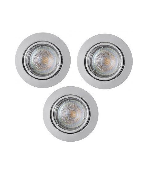 Carina downlight med 12° tilt, inkl dimbare GU10 LED-pærer, pakke med 3