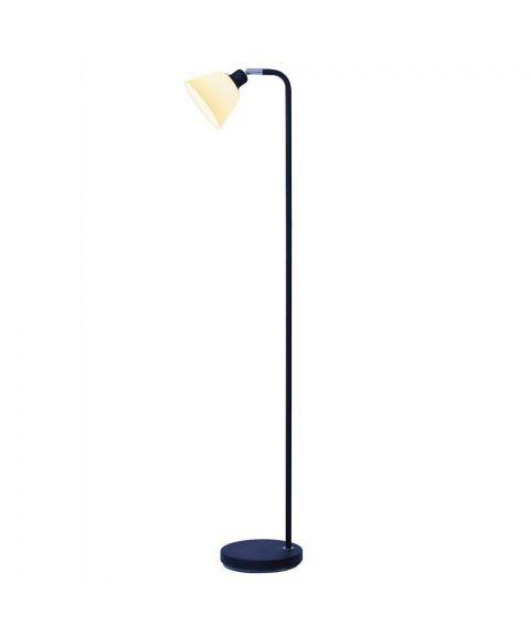 Carpenter gulvlampe, høyde 130 cm, Opalt glass / Sort