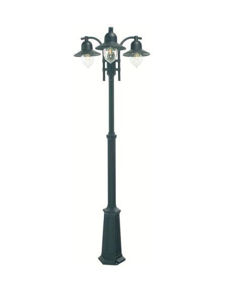 Como 373 lyktestolpe, høyde 182-249 cm, 3 lyktehoder, Sort (RAL9005)