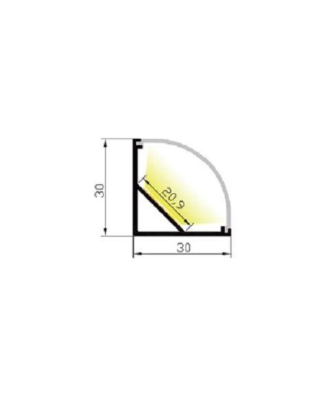 Aluminiumsprofil Cornerstar, 2 meter, Aluminium / Opalhvit avdekning