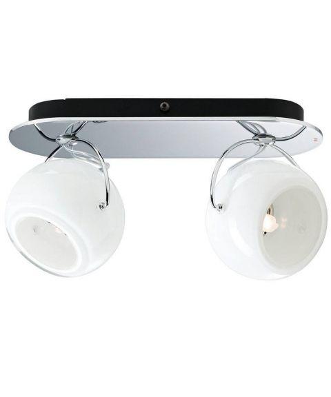 Beluga duo vegglampe/taklampe for fast montering, Opalhvitt glass
