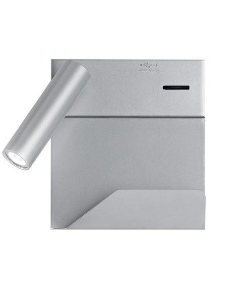 Rona vegglampe for fast montering med hylle og USB-utgang