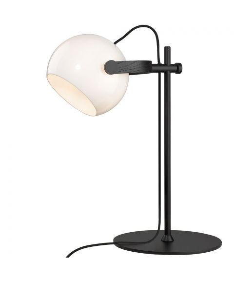 D.C bordlampe, høyde 50 cm, Sort / Opalhvitt glass