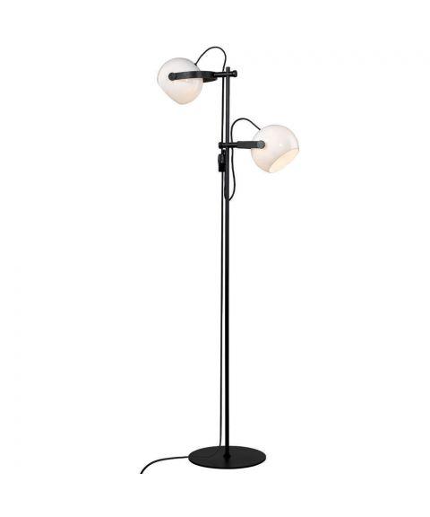 D.C duo gulvlampe, høyde 150 cm, Sort / Opalhvitt glass