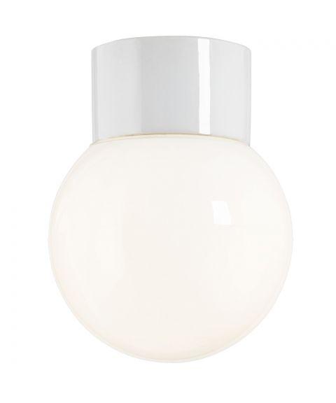 Classic Glob 150 taklampe IP54 E27, Blankt opalhvitt glass