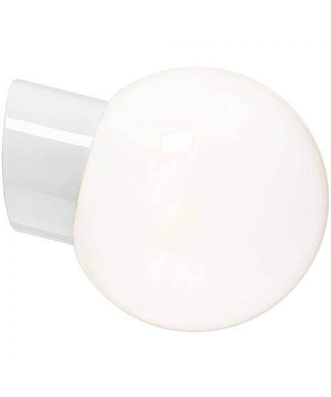 Classic Glob 180 vegglampe IP54, dimbar LED 3000K, Blankt opalhvitt glass