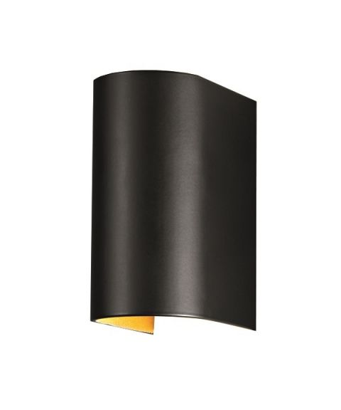 Feeling vegglampe, høyde 13 cm, LED 3000K 2 x 150lm, Sort / Gull innside