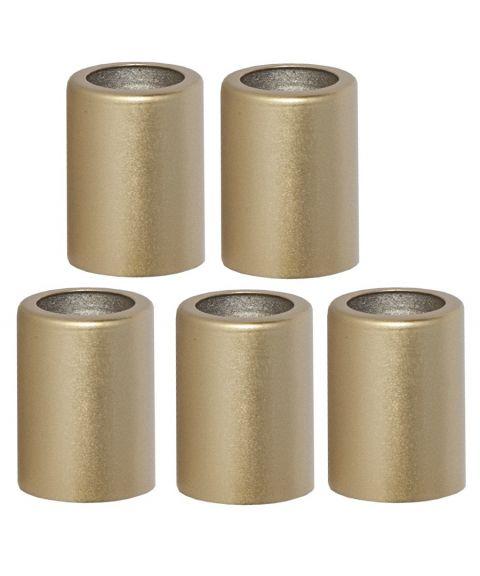 Mansjett metallhylse 3,8 cm for lysestaker 5-pk, Gull