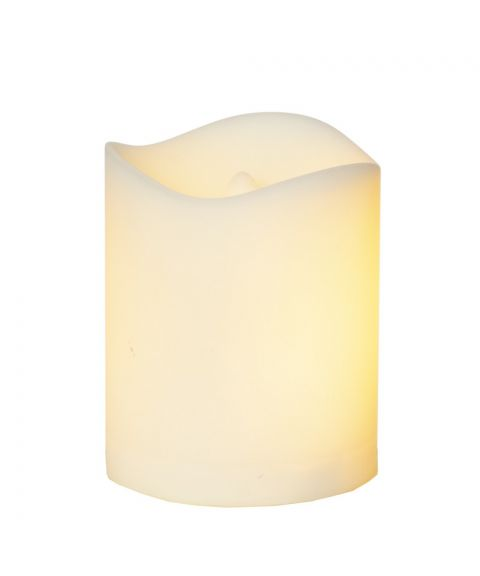 Flame Candle, bevegelig flamme, høyde 7 cm, for batteri, med timer, Hvit
