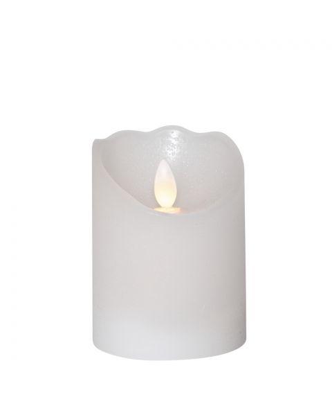 Glow kubbelys i voks, for batteri, med timer, høyde 10 cm, Hvit