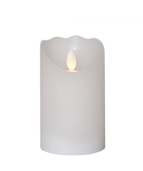 Glow kubbelys i voks, for batteri, med timer, høyde 12,5 cm, Hvit