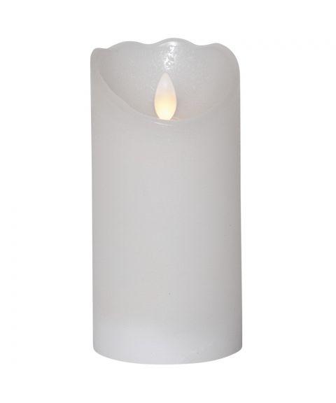 Glow kubbelys i voks, for batteri, med timer, høyde 15 cm, Hvit