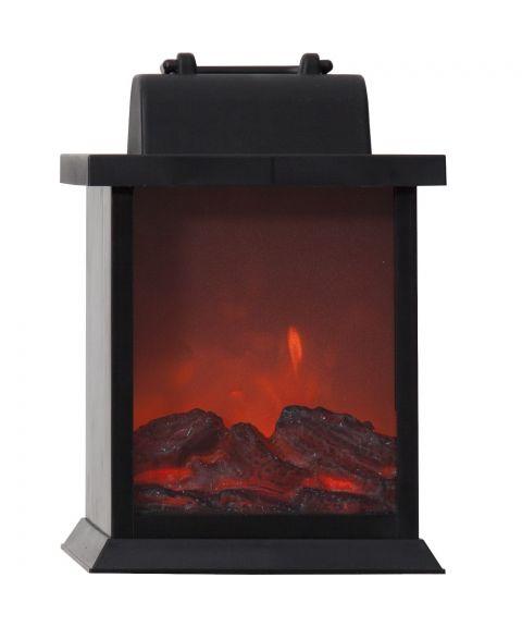 Fireplace, for batteri, med timer, høyde 21 cm, Sort
