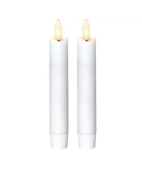 Flamme kronelys 2-pk, for batteri (2xAA), med timer, hvit