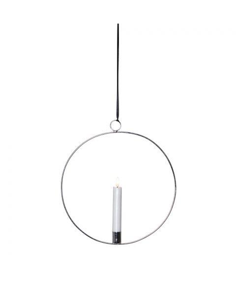 Flamme dekorasjon med lys, for batteri, med timer, Sølv