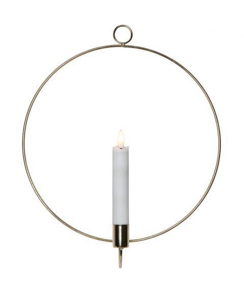 Flamme veggoppheng med kronelys, for batteri, med timer, Messingfarget