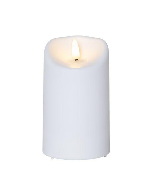 Flamme kubbelys plastikk 13 cm timer hvit