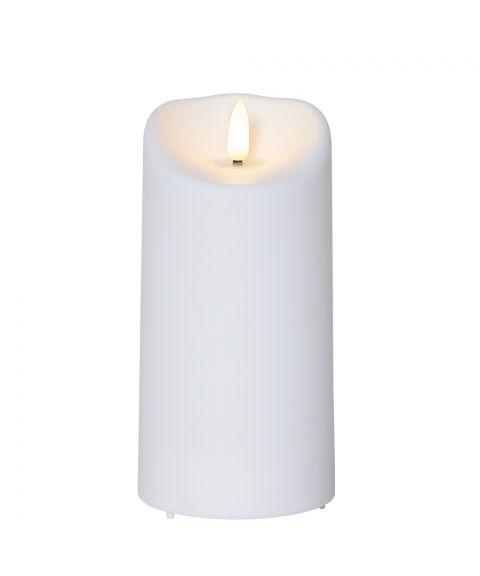 Flamme kubbelys plastikk 15 cm timer hvit