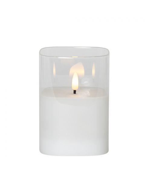 Flamme lys i glass, for batteri, med timer, høyde 12 cm, Hvit