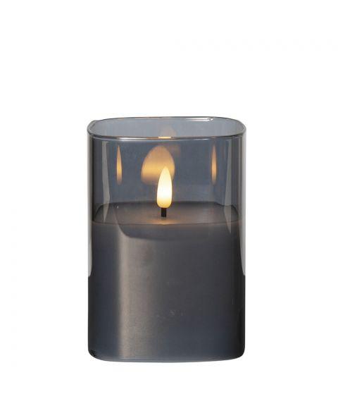 Flamme lys i glass, for batteri, med timer, høyde 12 cm, Sotfarget