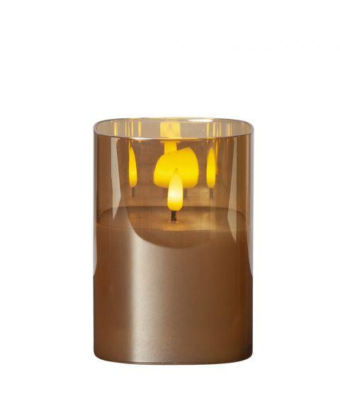 Flamme lys i glass, for batteri, med timer, høyde 12 cm, Rav