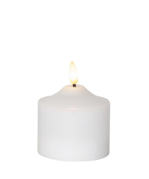 Flamme kubbelys 9 cm, med timer, Hvit