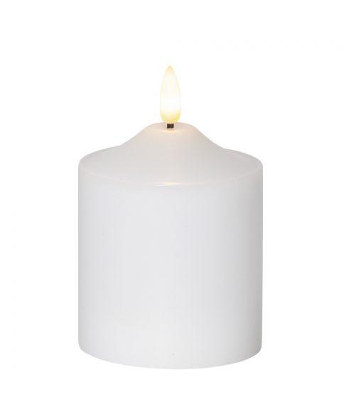 Flamme kubbelys 11 cm, med timer, Hvit