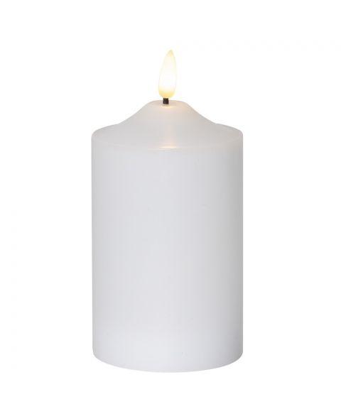 Flamme kubbelys 15 cm, med timer, Hvit