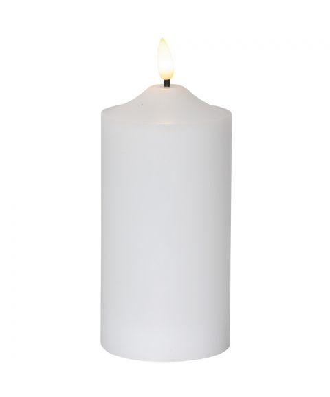 Flamme kubbelys 18 cm, med timer, Hvit