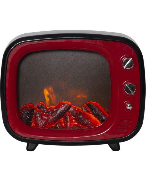 Fireplace for batteri, med timer, bredde 27 cm, Rød/Sort