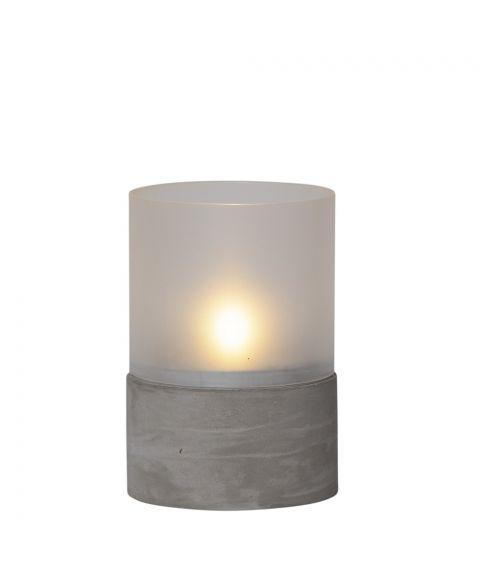 Cemmy lykt, høyde 15 cm, Frostet glass/Betong
