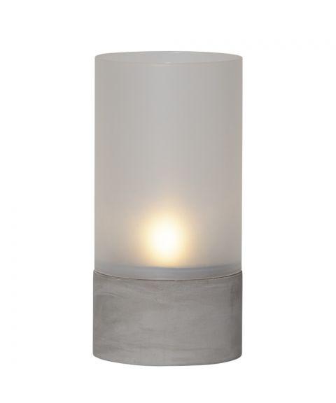Cemmy lykt, høyde 21 cm, Frostet glass/Betong