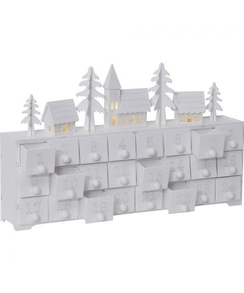 Lazer Cut Julekalender, Hvit, for batteri