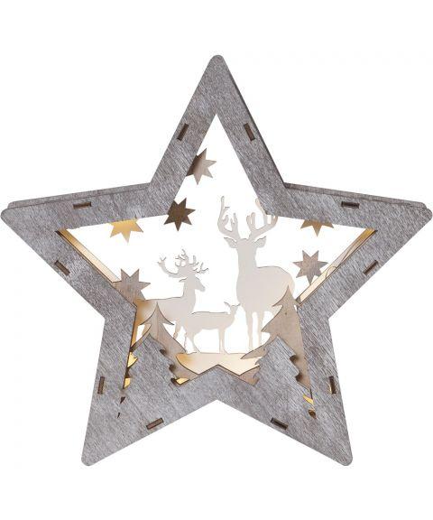 Fauna liten stjerne med reinsdyr, for batteri, høyde 24 cm, Brun