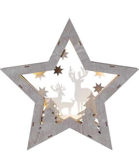 Fauna stor stjerne med reinsdyr, for batteri, høyde 32 cm, Brun