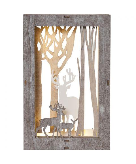 Fauna ramme med reinsdyr, for batteri, høyde 28 cm, Brun