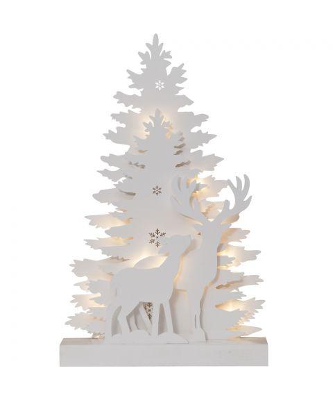 Fauna Lazer Cut borddekorasjon, for batteri, høyde 44 cm, Hvit