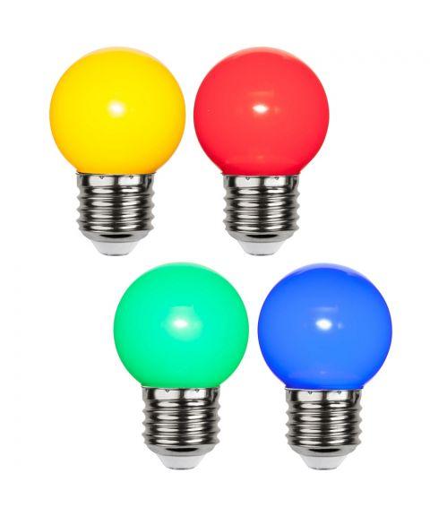 Decoration E27 Krone 1W 4-pk gul/rød/blå/grønn