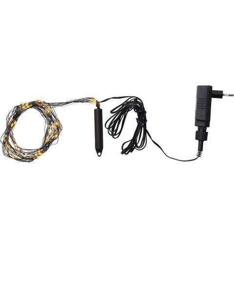 Bukettslynge med duggdråper, Varmhvit LED (x125), Sort kabel