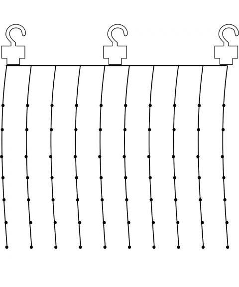 Duggdråper gardin, 1x1 meter, for innendørs bruk, hvit kabel, LED (x100), Varmhvitt lys