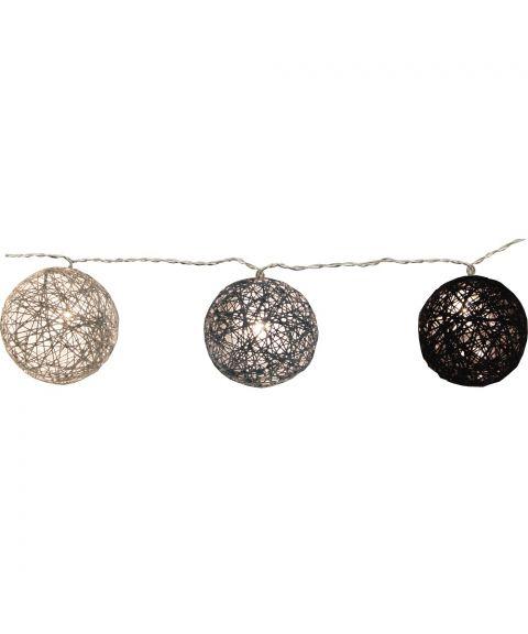 Festlenke Jolly Light slynge trådball LED (x10), lengde 135 cm, Sorte og grå